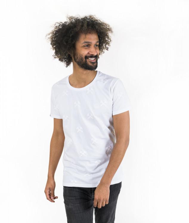 """T-Shirt """"Schlägel & Eisen"""" Weiß/Weiß"""