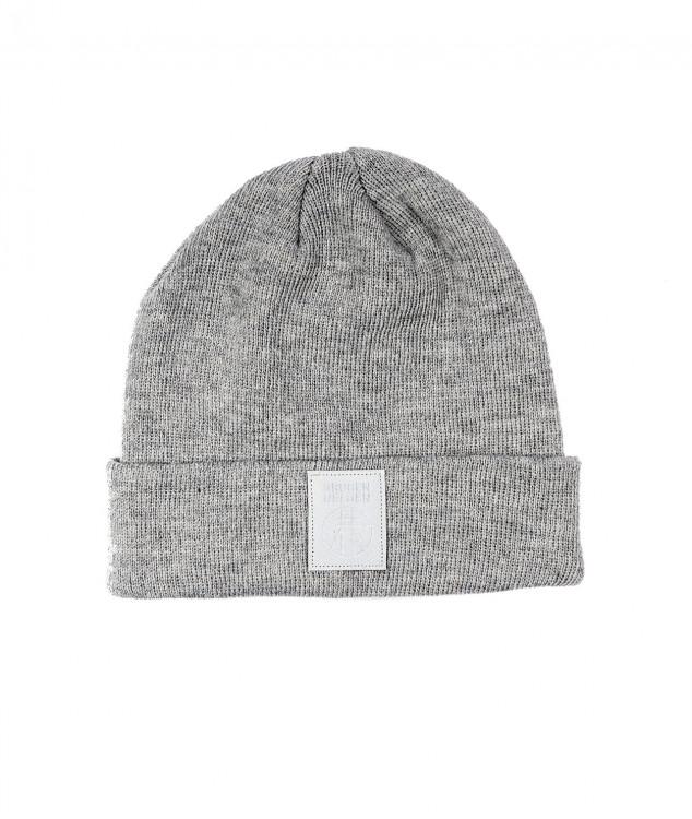 「バットフラップ」ロゴ付きニット帽(ライトグレー)