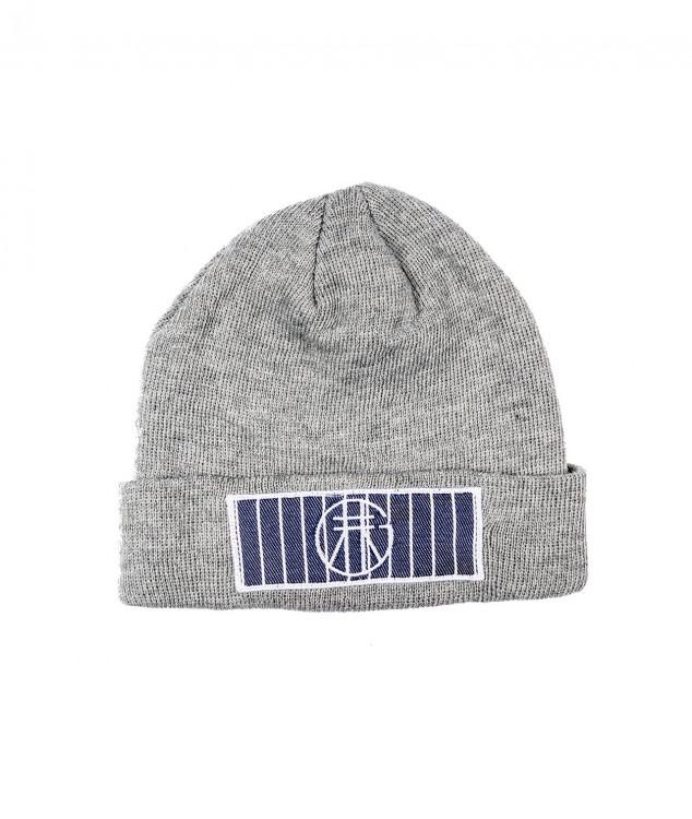 ロゴマーク付きニット帽(ライトグレー)