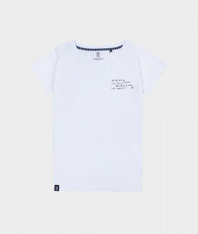 T-Shirt Frauen Steigerlied 1. Strophe Weiß