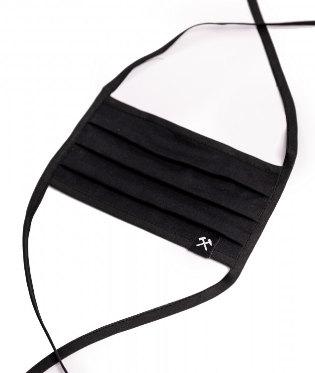 Face Mask with ribbon - black