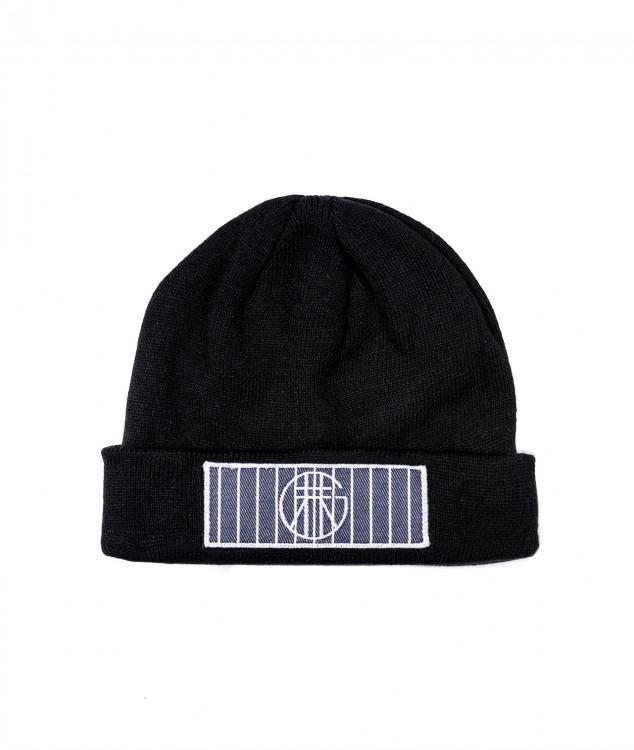 ロゴマーク付きニット帽(ブラック)
